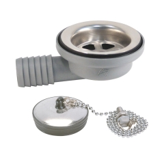 Ambassador Marine S00-0101-UP 2 inch 95 Degree Elbow Sink Drain with Ultra-Mirror Strainer and Stopper