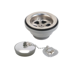 Ambassador Marine S00-0104-UP-R 2 inch Straight Drain, Low Profile, 1-1/4 inch Male Thread with Chain Stopper (Ultra-Mirror Finish