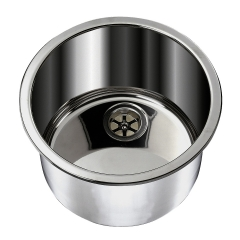 Ambassador Marine S14-2500-BR Stainless Steel Cylindrical Sink for 2 inch Drains, Brushed Finish