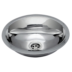 Ambassador Marine S64-6530-UM Stainless Steel Oval Sink for 1-1/2 inch Drains, Ultra-Mirror Finish