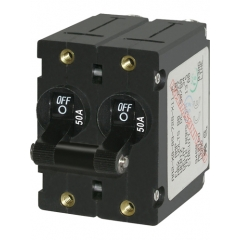 A-Series Black Toggle Circuit Breaker - Double Pole 50A