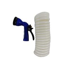 Whitecap P-0440 15 ft. White Coiled Hose & Spray Nozzle