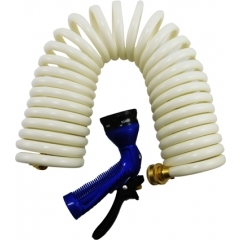 25 ft. White Coiled Hose & Spray Nozzle